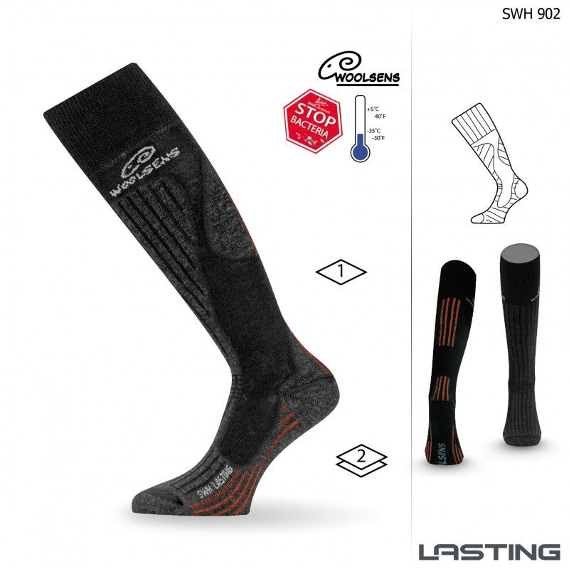 LASTING SWH-902 lyžařské ponožky černá