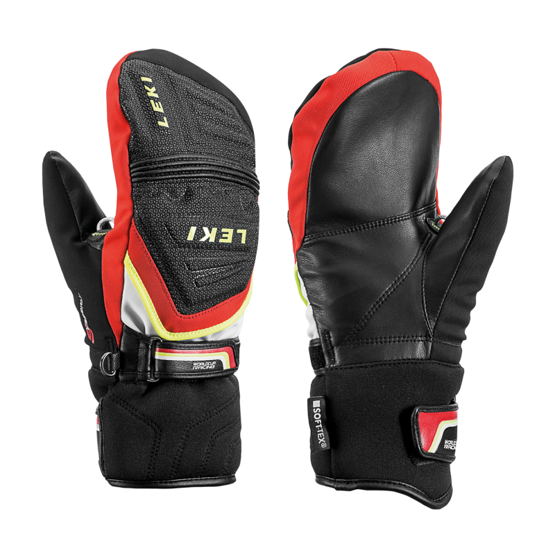 LEKI RACE COACH C-TECH S JUNIOR MITT dětské lyžařské rukavice black-red-white-yellow 18/19
