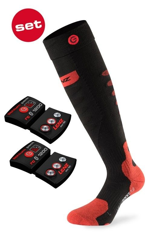 LENZ SET OF HEAT SOCK 5.0 TOE CAP + lithium pack rcB 1200 vyhřívané ponožky 20/21