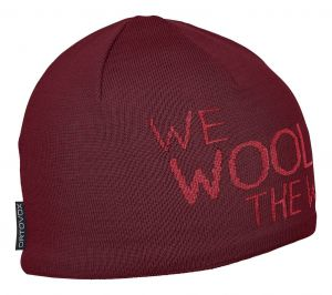 ORTOVOX WE WOOL THE WORLD BEANIE čepice dark blood