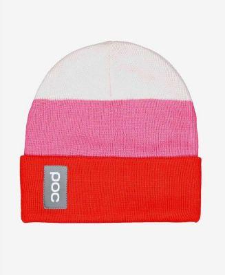 POC STRIPE BEANIE čepice hydrogen white/prismane red/actinium pink