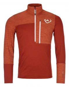 ORTOVOX FLEECE LIGHT ZIP NECK M clay orange pánská mikina