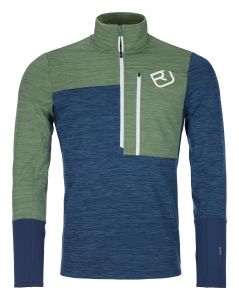 ORTOVOX FLEECE LIGHT ZIP NECK M night blue blend pánská mikina