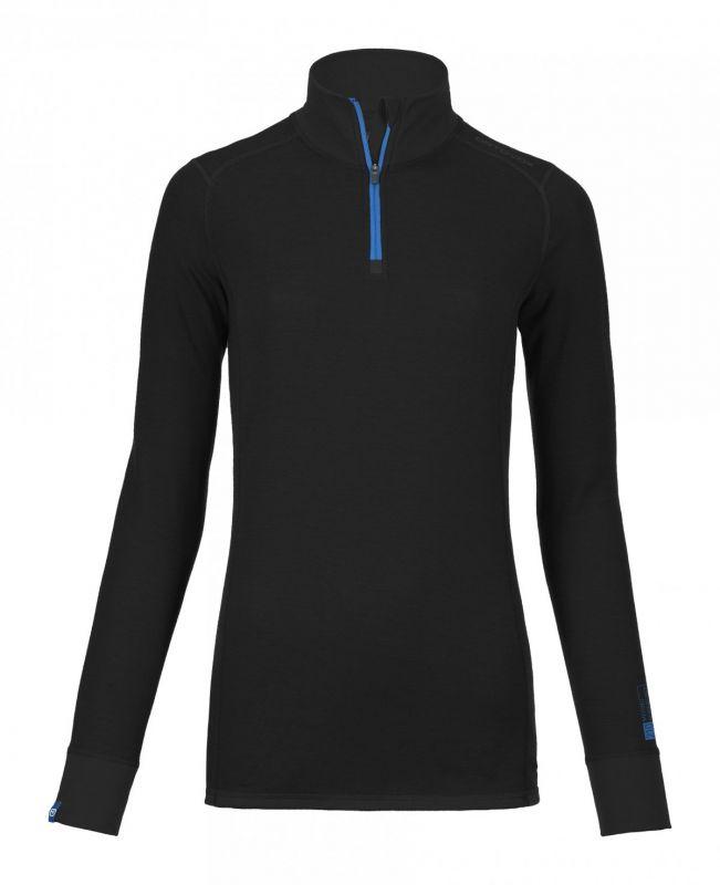 ORTOVOX 210 SUPERSOFT ZIP NECK dámské tričko black raven